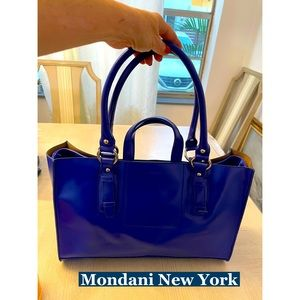 Mondani New York, Blue Vegan Leather Bag Sz Lg